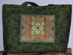 large tote bag with Ahwahnee stitched canvas on the front as a decorative panel