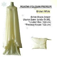mukena Polos Premium Broken white