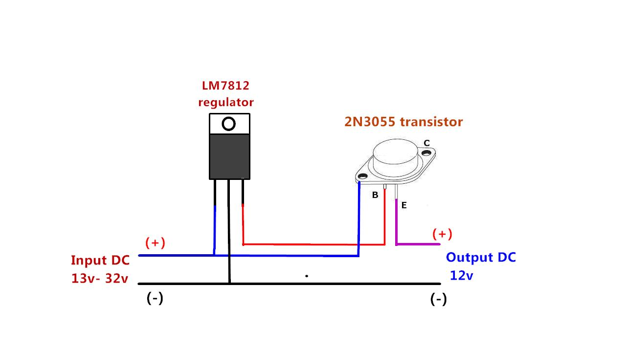 Power Gen Circuit Diagram List Part 2 Increase The Current Ic Lm7805 Output Dc Using 2n3055 Transistor
