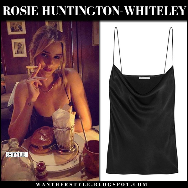 Rosie Huntington-Whiteley in black draped camisole protagonist model night out fashion august 4