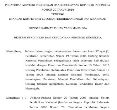 Download Permendikbud No  Tentang Standar Kompetensi Lulusan Pendidikan Dasar Dan Menengah