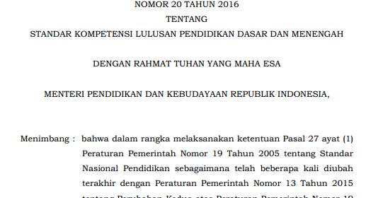 Download Permendikbud No  Tentang Standar Kompetensi Lulusan Pendidikan Dasar Dan Menengah Zona Pendidikan