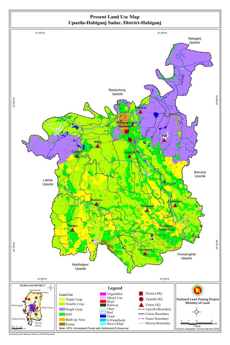 Habiganj Sadar Upazila Mouza Map Habiganj District Bangladesh