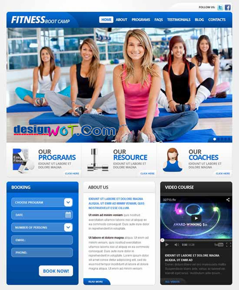 Fitnessboot camp responsive wordpress theme