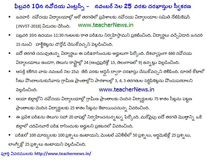 JNVST Navodaya Vidyalaya 6th Class Admission Form 2018 Notification, Syllabus, Exam Pattern