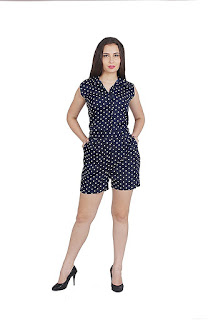 women Dots Printed Collared Sleeveless Jumpsuit