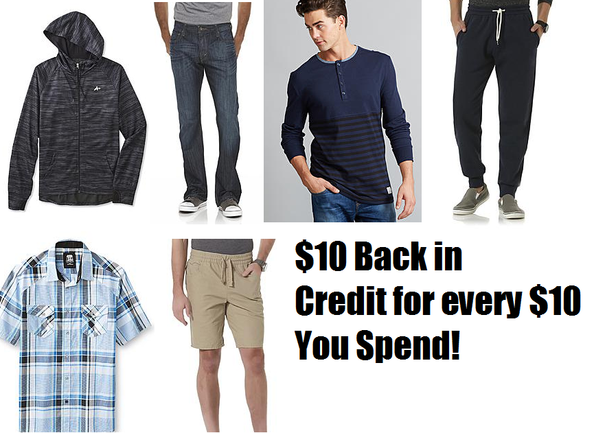 c34158259d50 Kmart Bonus Points Deal: Get $10 Back of Kmart/Sears Credit For Every $10  You Spend on Men's Clearance Clothing!