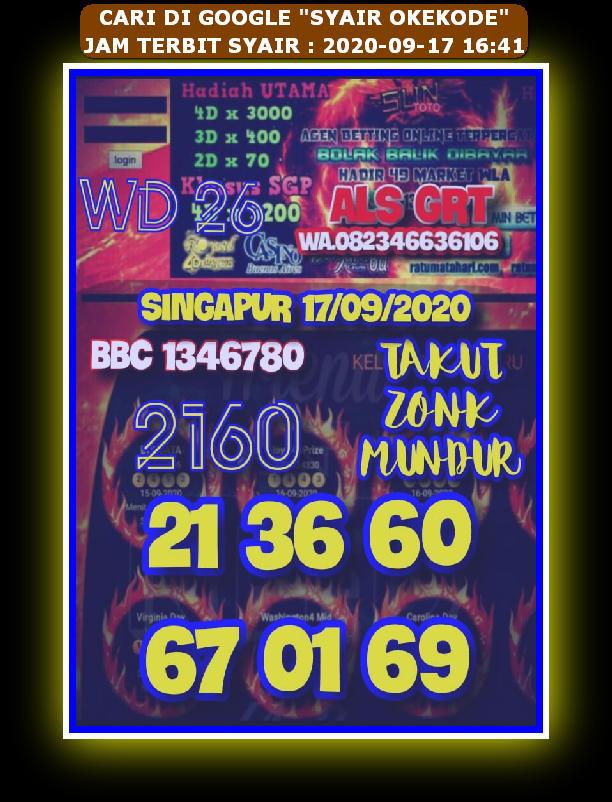 Kode syair Singapore Kamis 17 September 2020 21