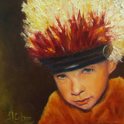 """Chief Wannabee"" #2 small original oil portrait of Native American child"