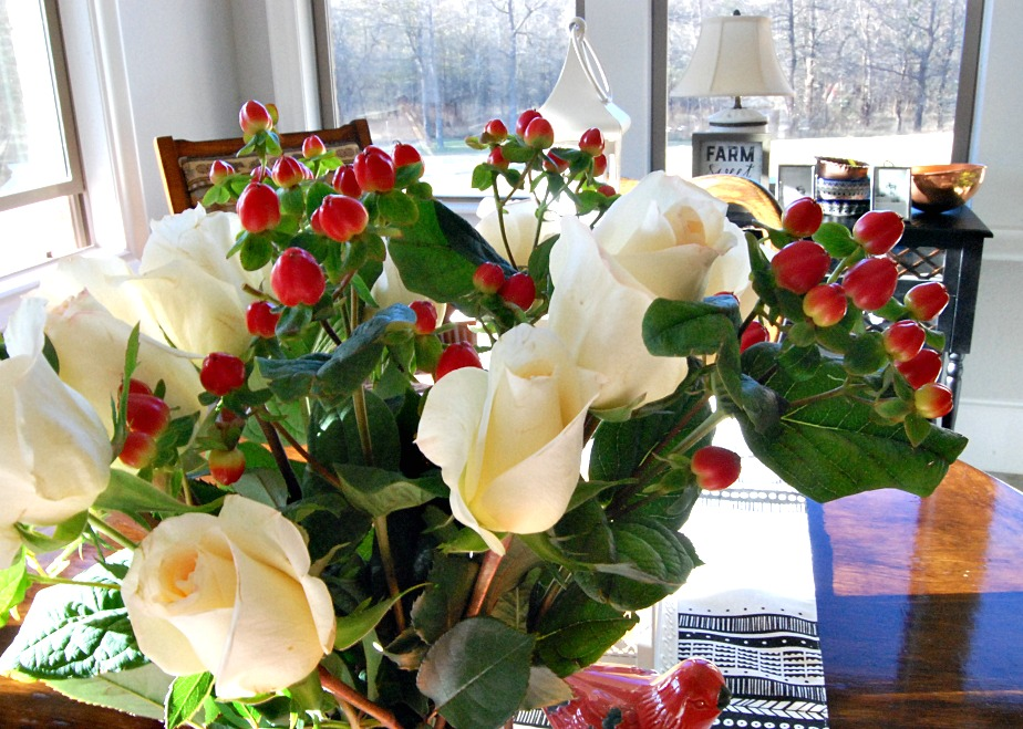 roses, bouquet, berries, Thanksgiving