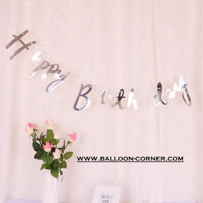 Bunting Garland HAPPY BIRTHDAY Warna Silver