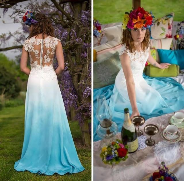 vestido de novia con colores celeste