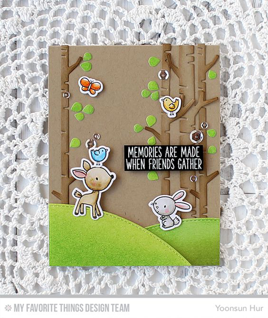 Handmade card from Yoonsun Hur featuring Sweet Forest Friends stamp set and Die-namics, Birch Trees and Stitched Valley Die-namics #mftstamps