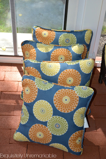 Blue Floral Outdoor Pillows