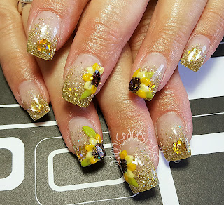 fall sunflower nails