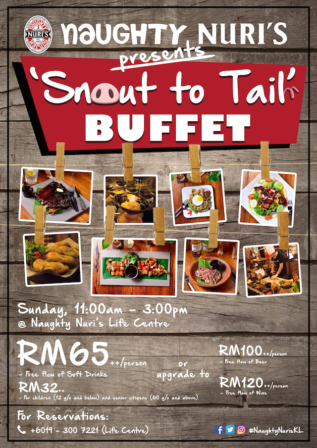 Promotional Poster for Naughty Nuri's Life Centre's Snout to Tail Buffet