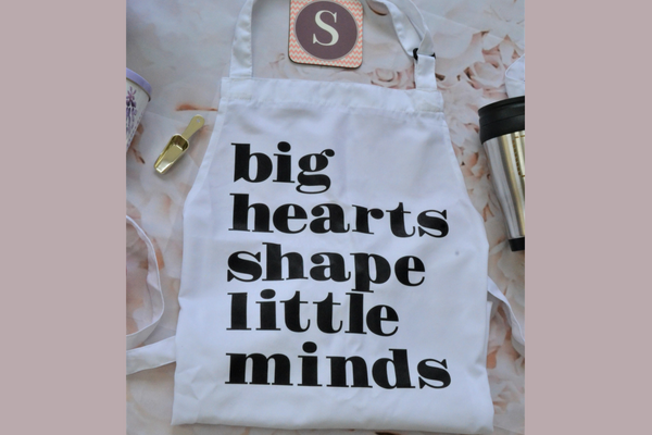 big hearts shape little minds apron gift for teachers