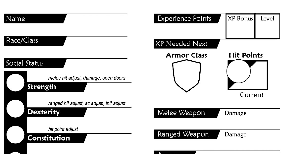 Old School DnD: Warriors of the Red Planet Character Sheet