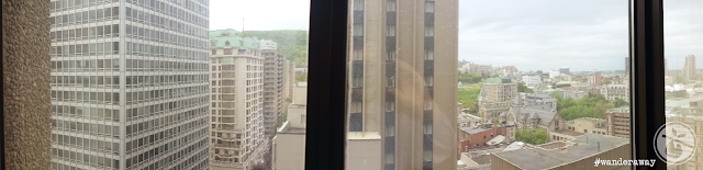 view of Montréal from hotel room