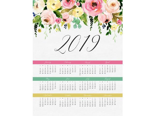 Ücretsiz 2019 Yılı Takvimi, 2019 Yılı Takvimi, 2019 Takvimi, DEKORASYON, TASARIM,