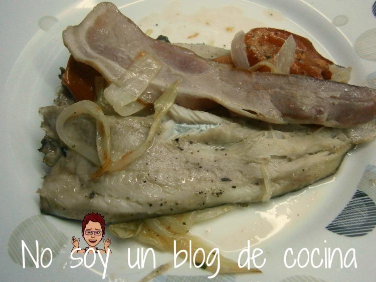Trucha al horno, rellena de bacon