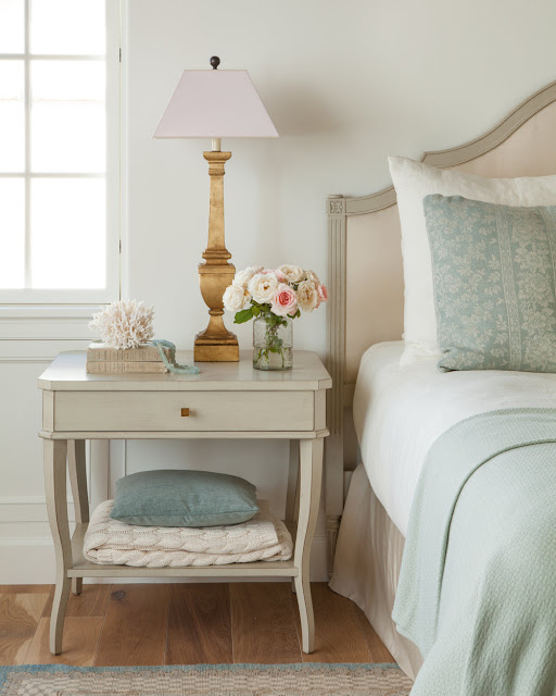 French Farmhouse style interior design in this romantic feminine bedroom - found on Hello Lovely Studio