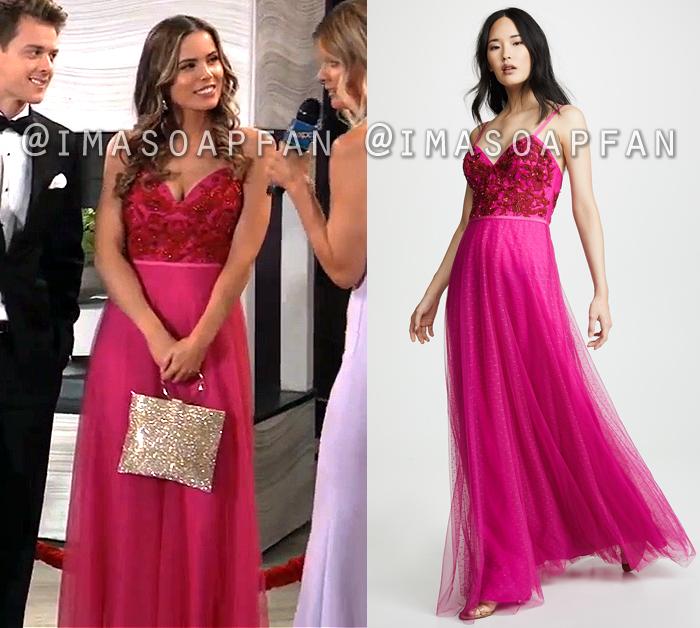 Sasha Gilmore, Sofia Mattsson, Pink Tulle Gown with Beaded Bodice, Nurses Ball, General Hospital, GH