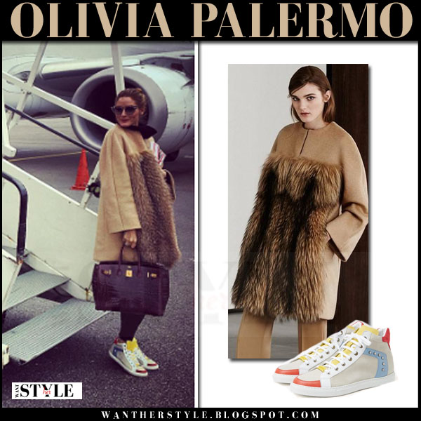 Olivia Palermo in camel fur front max mara coat and grey colorblock max and co sneakers  what she wore winter style