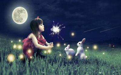 Cute Girl Cute Rabbits - Fond d'Écran Full HD 1080p