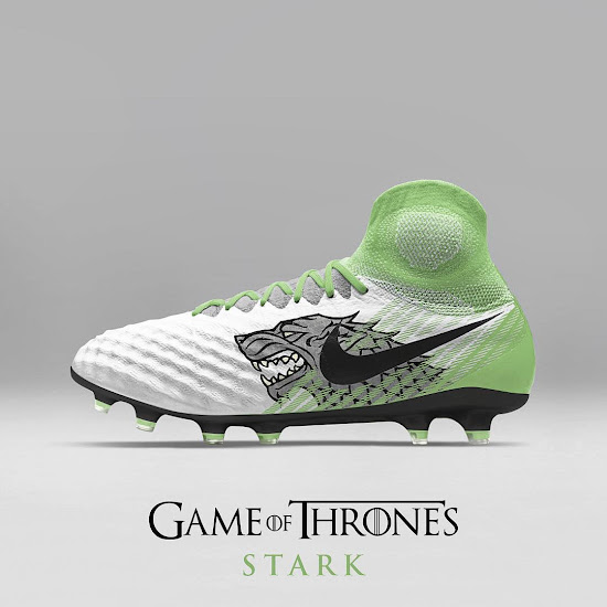 8e1455b9021e Nike Magista Obra II x Stark. Kicking things off is a Nike Magista Obra II  inspired by House Stark. It's white and green with black trim and a large  wolf ...