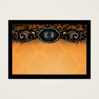 Orange Black Elegant Halloween BLANK Place Cards with Bride & Groom Gothic Initials