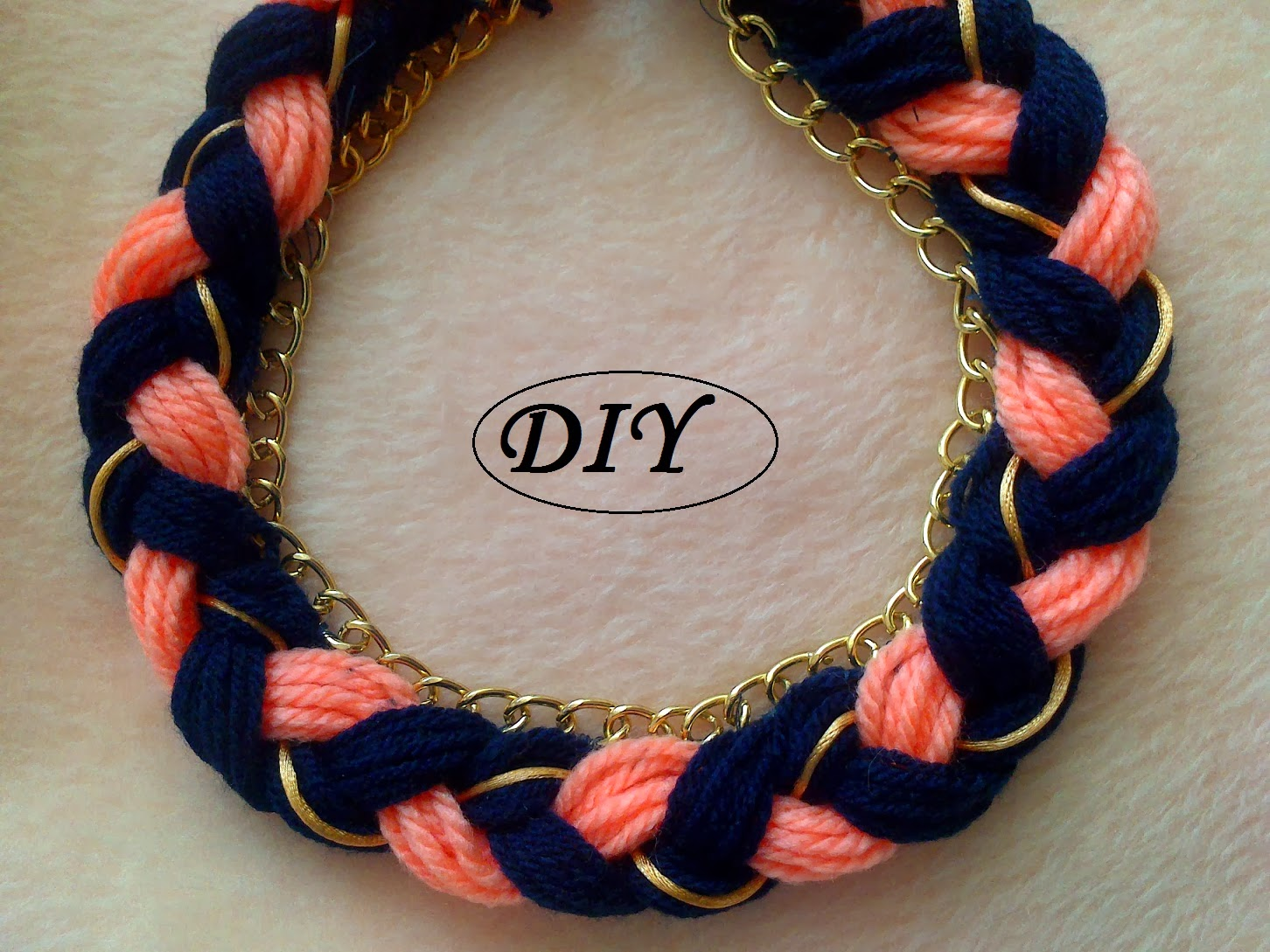 e1f7bcaf6762 Mi dedal violeta DIY  Collar trenzado con cadena