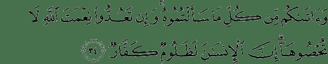 Surat Ibrahim Ayat 34