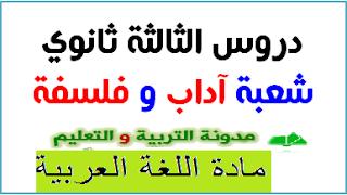 جميع دروس اللغة العربية للبكالوريا شعبة اداب وفلسفة في ملف واحد