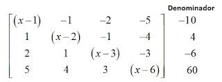 matriz e denominadores