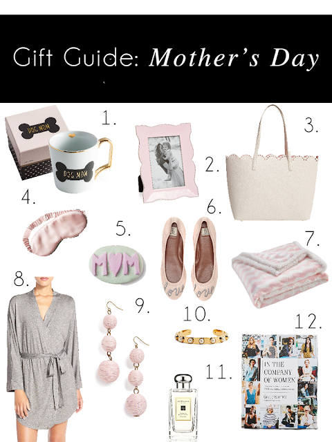 Mothers Day gift guide nordstrom robe baublebar coffee mug dog mom sleep mask kate spade blanket bp ellen degeneres picture frame