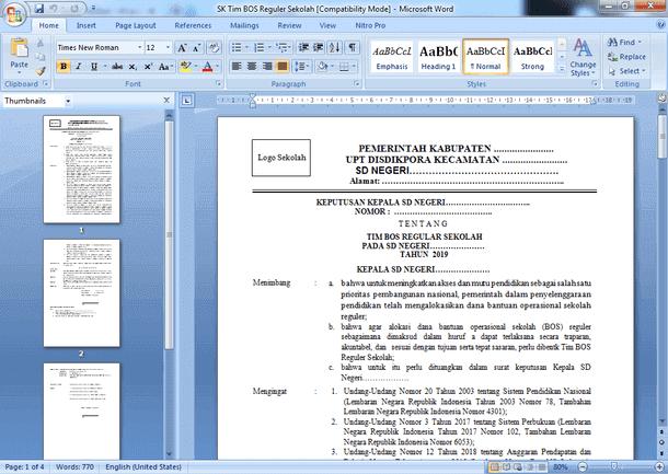 Contoh SK Tim BOS Reguler 2019 Terbaru