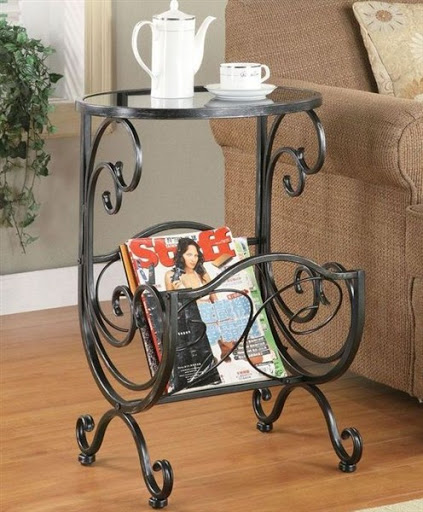 chairside end table with magazine rack