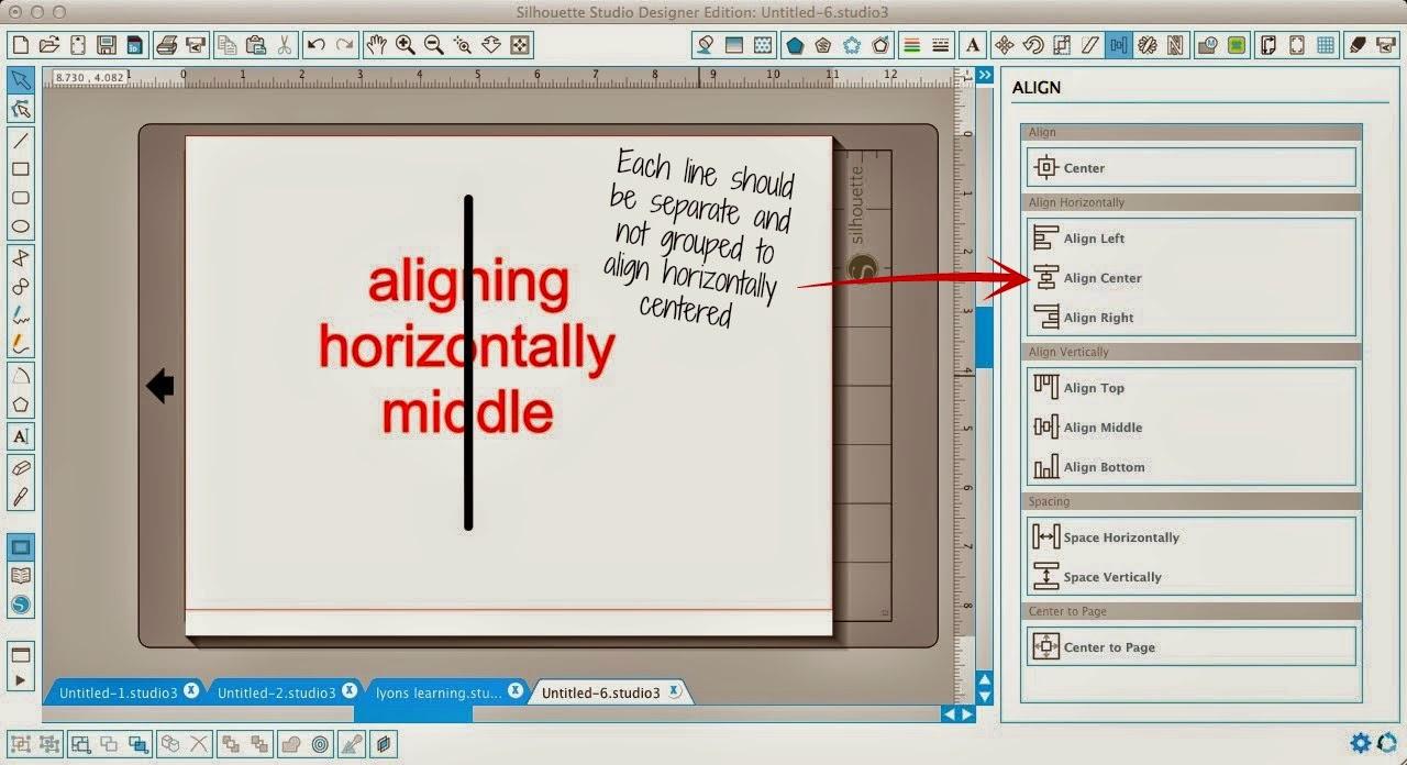 Silhouette Studio, align tool, Silhouette tutorial, align, align center