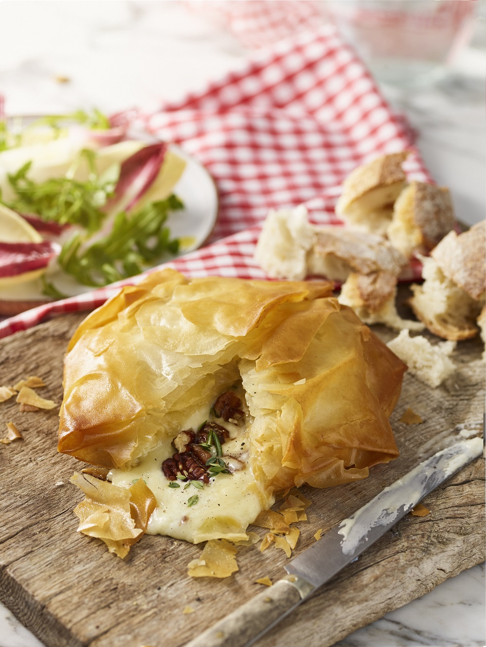 Filo Baked Le Rustique Camembert With Honey'd Pecans