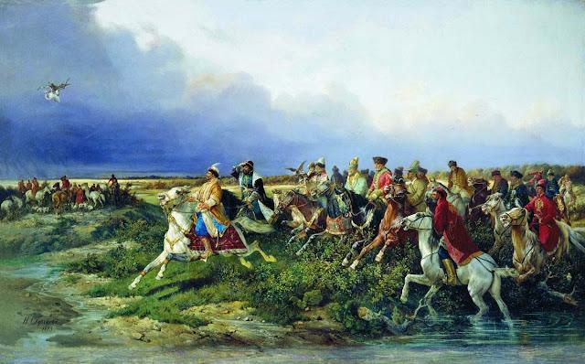 Nikolaj Sverĉkov. Caro Alekseo Miĥajloviĉ kun bojaroj en falkona ĉasado apud Moskvo (1873)