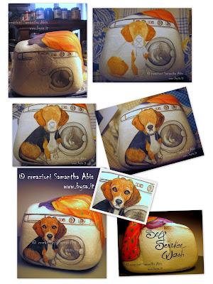 pubblico fasi di pittura realizzazione sasso dipinto ferma porta con cane beagle
