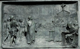 Relieve de bronce del proceso de Giordano Bruno a cargo de la Inquisión romana