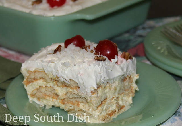 Pineapple Icebox Cake, made with layers of Nilla wafers, a blend of cream cheese, pudding and condensed milk with pineapple and whipped topping. I like to finish mine with a little coconut, maraschino cherries and a sprinkle of chopped nuts.