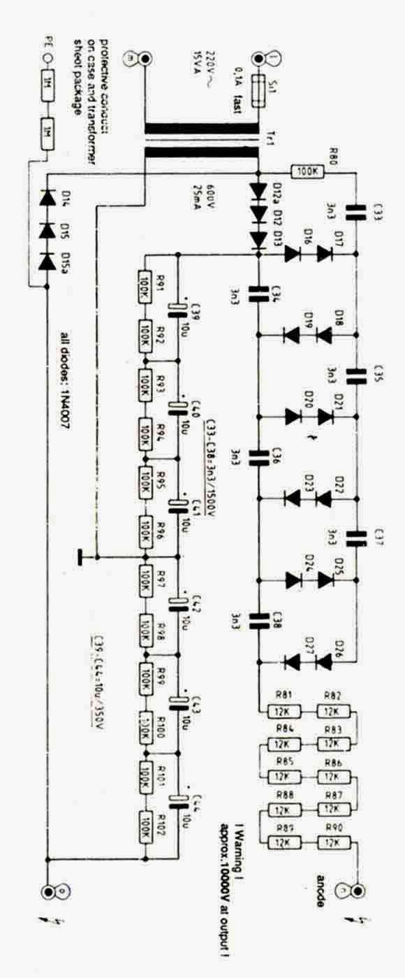 High Voltage Power Supply 10kV Circuit Diagram