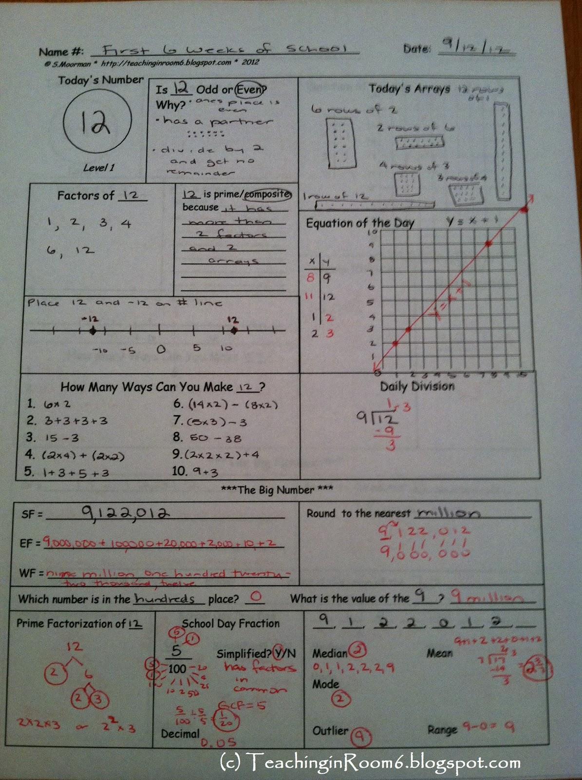 Calendar Math Student Responses