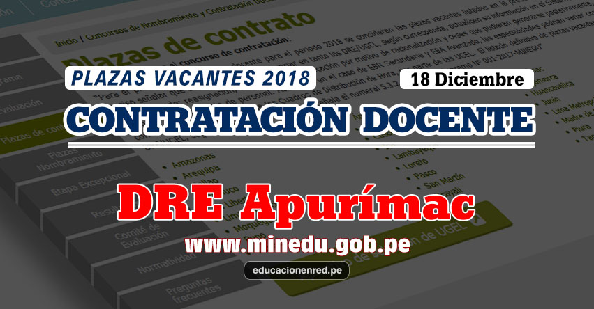 DRE Apurímac: Plazas Vacantes Contrato Docente 2018 (.PDF) www.dreapurimac.gob.pe