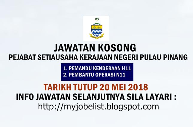 Jawatan Kosong Terkini di SUK Pulau Pinang Mei 2018