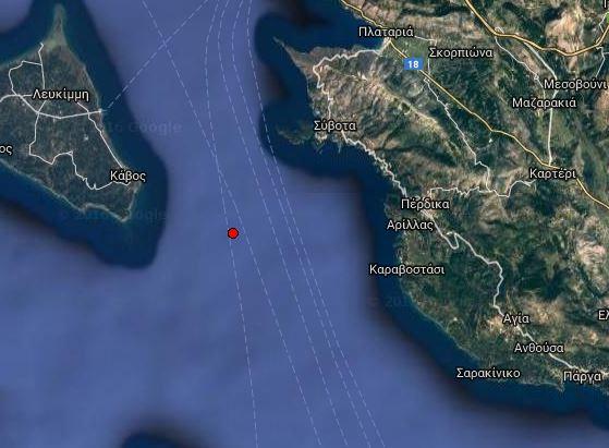 Ασθενής σεισμική δόνηση στη θαλάσσια περιοχή ανάμεσα σε Σύβοτα και Κέρκυρα
