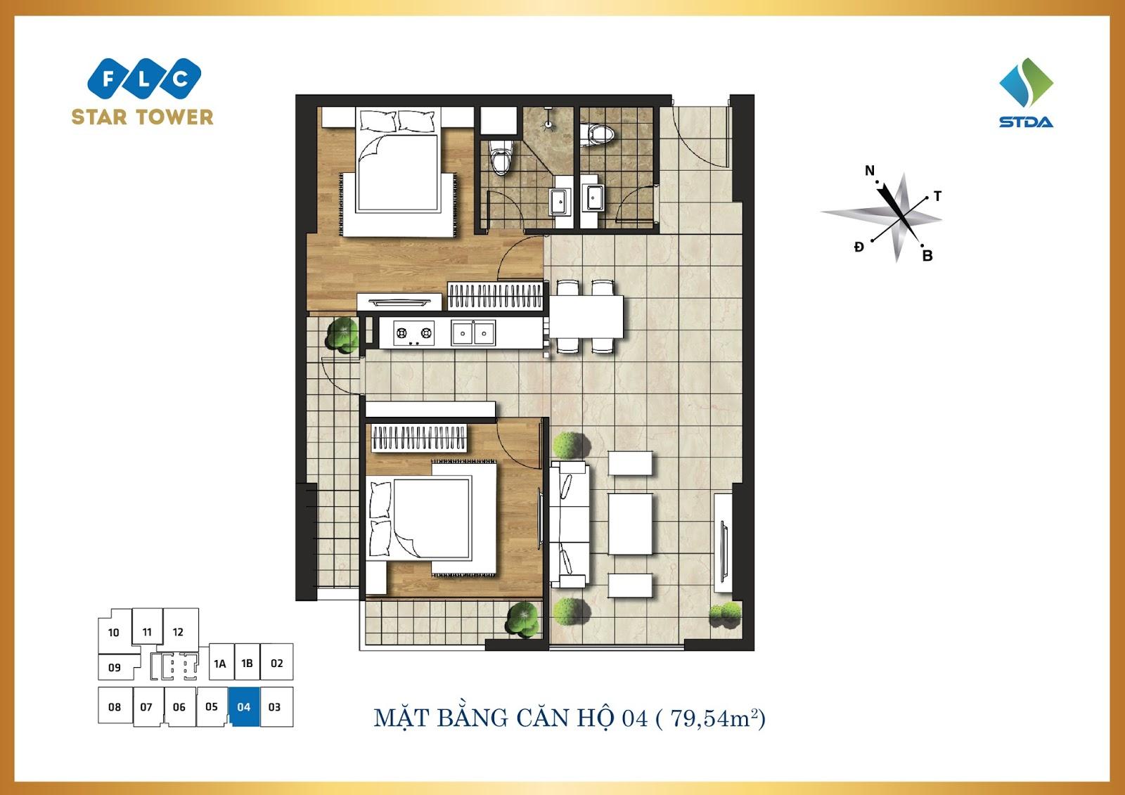 Thiết kế căn hộ số 4 - Chung cư FLC Star Tower